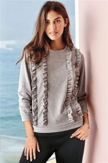 Grey Ruffle Sweat Top