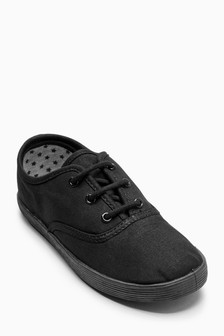 Black Lace-Up Plimsolls (Older Girls)