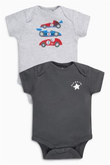 Grey Racing Driver Short Sleeve Bodysuits Two Pack (0mths-2yrs)