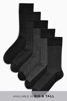 Black Mixed Pattern Socks Five Pack