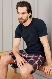 Navy/Red Check Woven Short Set