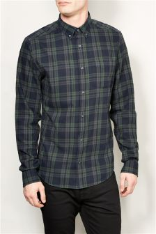 Black/Khaki Check Long Sleeve Shirt