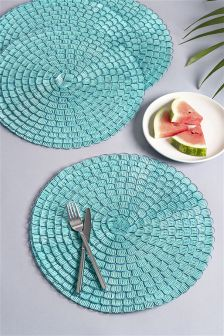 Set Of 4 Bright Woven Plastic Placemats