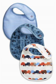 Navy Digger Print Regular Bibs Three Pack