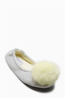Grey Marl Pom Pom Ballerina Slippers (Older Girls)