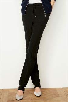 Black Workwear Tapered Trousers