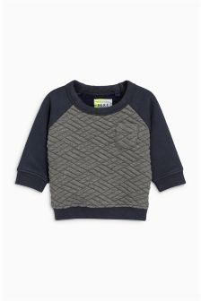 Navy Quilted Crew (3mths-6yrs)