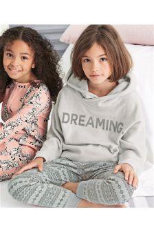 Grey Dreaming Fleece Top With Fairisle Pattern Bottom Pyjamas (3-16yrs)