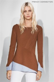 French Connection Tan Stripe Knit Jumper