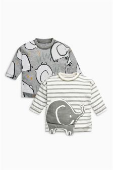 Multi Elephant T-Shirts Two Pack (0mths-2yrs)