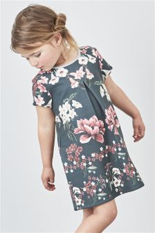 Khaki Floral Ponte Dress (3mths-6yrs)