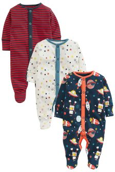 Red Retro Style Space Sleepsuits 3 Pack (0mths-2yrs)