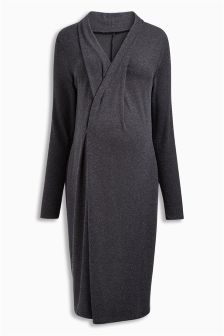 Charcoal Maternity Brushed Pleated Dress