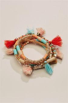 Turquoise/Orange Beaded Expander Bracelet Pack