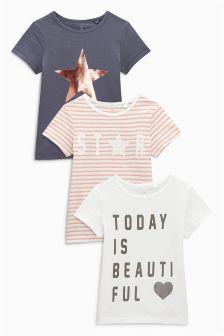 Три футболки с коротким рукавом (серая, белая, розовая) (3-16 лет)