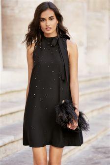 Black Diamanté Bow Dress