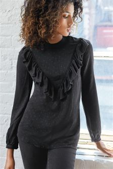 Black Long Sleeve Ruffle Shirt