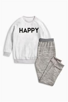 Grey Happy Slogan Pyjamas (3-16yrs)