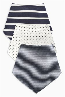 Navy Stripe Dribble Bibs Three Pack
