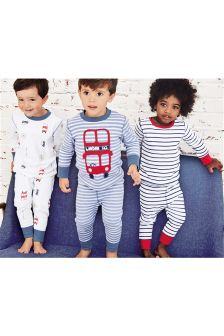 Blue Marl Bus Snuggle Fit Pyjamas Three Pack (9mths-8yrs)
