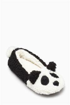 Black/White Panda Slippers (Older Girls)