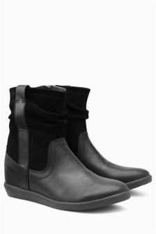 Black Mix Material Pull-On Boots