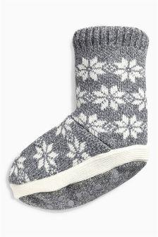 Grey Fairisle Pattern Slipper Socks (Older Boys)