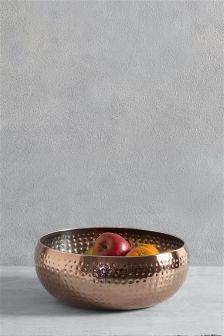 Copper Hammered Fruit Bowl