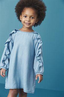 Blue Tencel® Frill Long Sleeve Dress (3mths-6yrs)