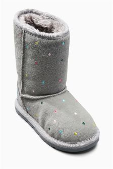 Grey Spot Pull-On Boots (Younger Girls)