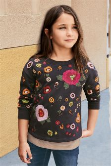 Charcoal Grey Embroidered Crew (3-16yrs)