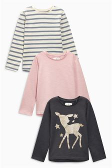 Pink/Grey Glitter Print Long Sleeve Tops Three Pack (3mths-6yrs)