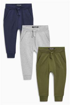 Navy/Grey/Khaki Super Skinny Fit Joggers Three Pack (3mths-6yrs)