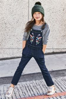 Inky Blue Denim Embroidered Bird Dungarees (3-16yrs)