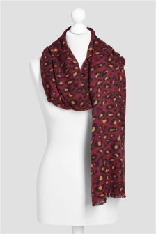 Plum Animal Print Scarf