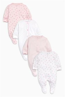 Pink Sleepsuits Four Pack (0mths-2yrs)
