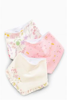 Pink/Cream Floral Dribble Bibs Three Pack