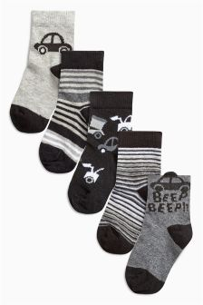Monochrome Car Socks Five Pack (Younger Boys)