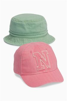 Pink/Green Cap and Fisherman's Hat Two Pack (Younger Girls)