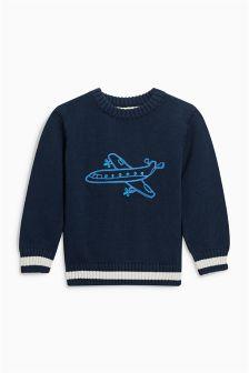 Navy Aeroplane Knitted Jumper (3mths-6yrs)