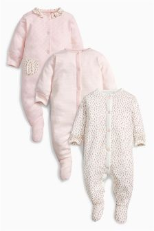 Pink Floral Print Sleepsuits Three Pack (0mths-2yrs)