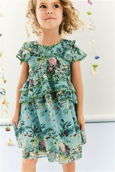 Teal Ruffle Layer Floral Dress (3mths-6yrs)
