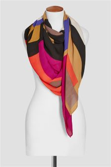 Red Geo Colourblock Scarf