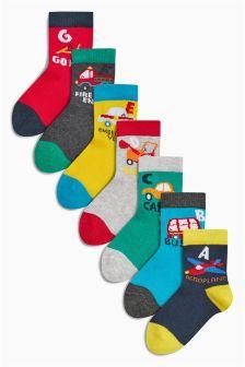 Multi Alphabet Transport Socks Seven Pack (Younger Boys)