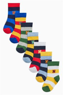 Multi Rugby Stripe Socks Seven Pack (Younger Boys)