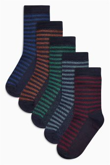 Navy Textured Stripe Socks Five Pack (Older Boys)