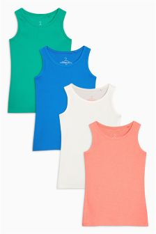 Multi Ribbed Vests Four Pack (3-16yrs)