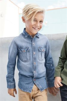 Blue Long Sleeve Denim Shirt (3-16yrs)