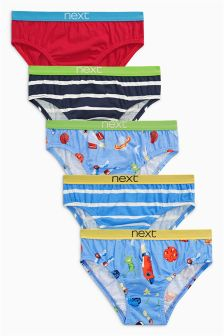 Red/Blue Space Briefs Five Pack (1.5-8yrs)