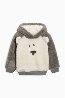 Grey/Ecru Fluffy Bear Jumper (3mths-6yrs)